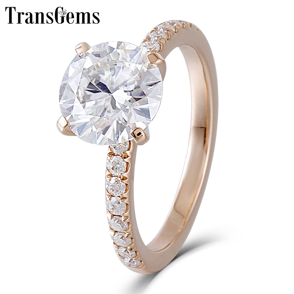 Transgems 14K Rose Gold Moissanite Engagement Ring Center 8mm F Color Moissanite Diamond Ring for Women Wedding Jewelry цены онлайн