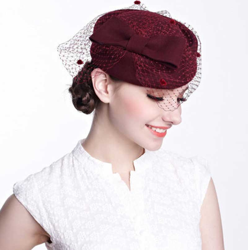 Wholesale 6pcs Black Bowknot Wool Pillbox Hat with Veil for Women Designer  Occasion Party Dress Hats Ladies Pill Box Fascinator 85bea8ab43e2
