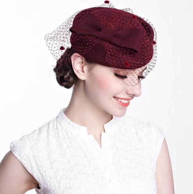 Wholesale 6pcs Black Bowknot Wool Pillbox Hat with Veil for Women Designer  Occasion Party Dress Hats Ladies Pill Box Fascinator bba22911e52