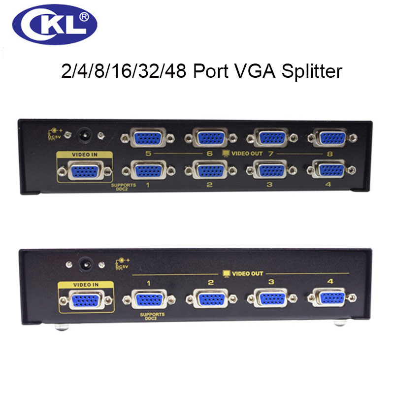 CKL High Quality Multi-function 2/4/8/16 Port VGA Splitter for PC Monitor Projector Display Support 450Mhz 2048*1536 Metal цена