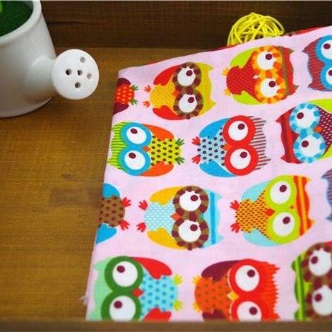 Nuevo 2014 de color rosa búho del remiendo del algodón tela para costura hechos