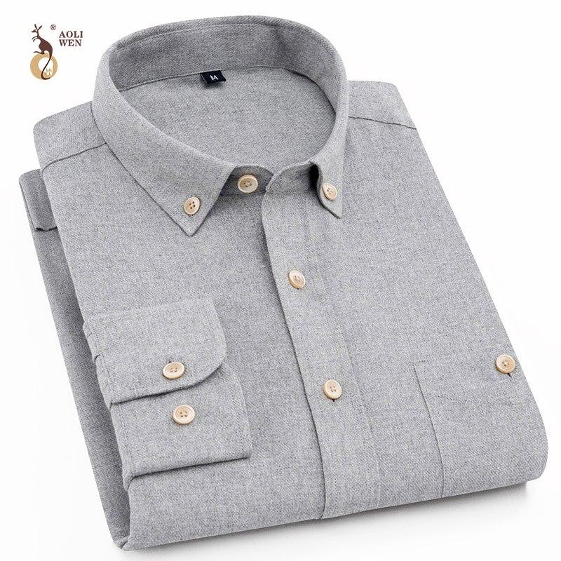 Aoliwen 2019 Sanding comfort high quality %85 cotton casual shirts Mens long sleeve shirt 6 colours size M-5XL summer men