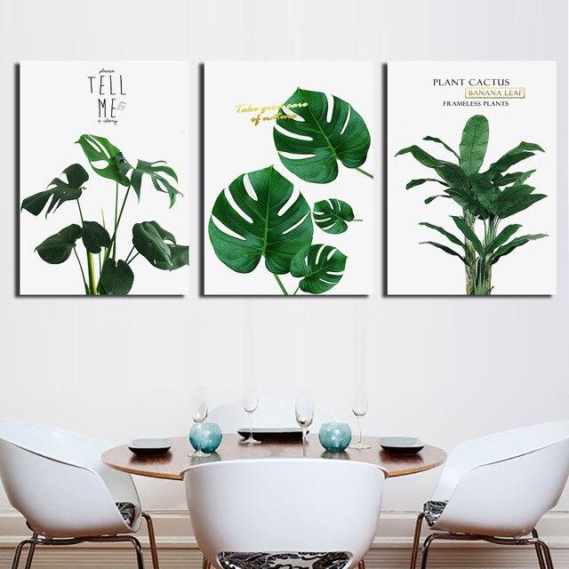 3 unid/set pinturas de pared de arte nórdico hojas de plantas verdes ...