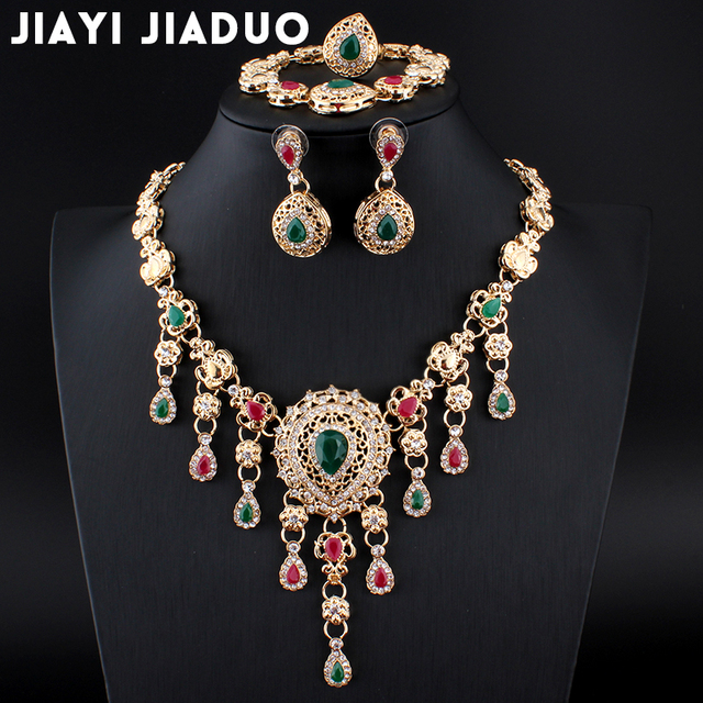 jiayijiaduo Africa Jewelry Sets For Women African Earrings Necklace Gold-color Classic Pendant Wedding Dress Accessories