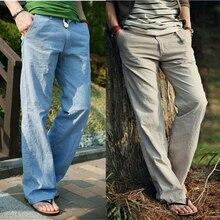 a60cbeb265 3XL Men Comfort Linen Pants 2018 Summer Comfortable Loose Long Trousers  Plus Size Mens Elastic Waist