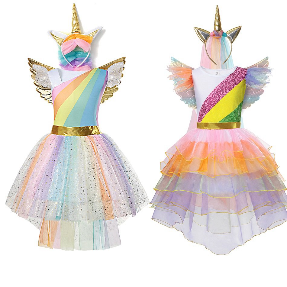 2019 Girls My Little Pony Rainbow Dress Kids Summer Party Clothes Age 3-8 Yrs