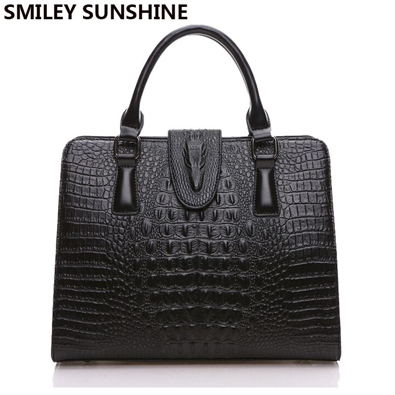 Fashion Genuine Leather Handbag Alligator Party Bag Luxury Women Leather Handbag Female Shoulder Bags sac a main femme de marque 2016 fashion women alligator top handle wristlets bag female dress handbag sac a main femme de marque luxe cuir shoulder bags