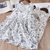 Everweekend Sweet Girls Bird Floral Leaves Ruffles Dress Cute Baby Blue And Yellow Color Korean Fashion
