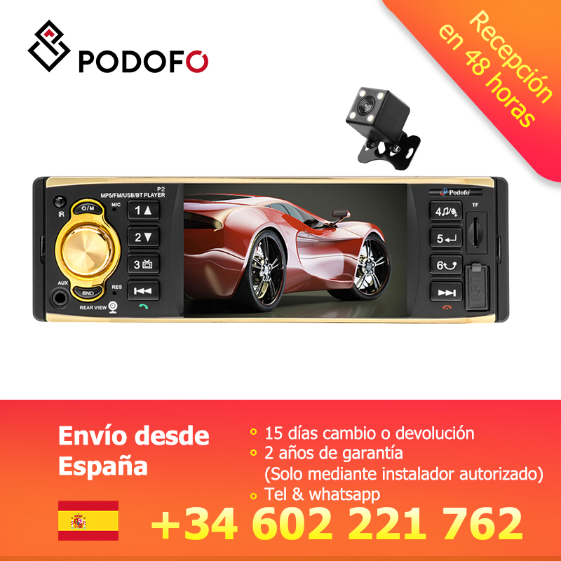 Podofo VEUR 1 din Autoradio 4 ''écran TFT MP3 Autoradio stéréo Bluetooth télécommande USB FM Autoradio lecteur multimédia