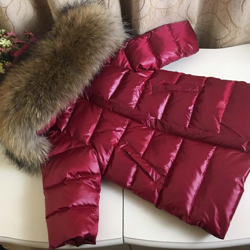 fashion girl in winter, down jacket coat baby child warm 100% thick cold duck children down to - 25 degrees outerwears jacket 2018 cold winter warm thick baby child girl hoody long outerwear pink duck down