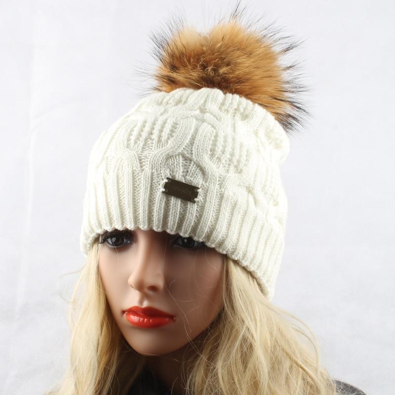 Žiemos kailių pompom skrybėlės moterims Nekilnojamasis usūrinių - Drabužių priedai - Nuotrauka 5