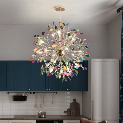 Modern Led Chandelier For Kitchen Dining Room Living Room Suspension Luminaire Hanging Agate Stone Bedroom Chandeliers Fixtures