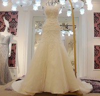 2018 New Mermaid Wedding Dresses Lace Applique Open Back Plus Size Berta Wedding Gowns Bead Vestido de Noiva Sereia