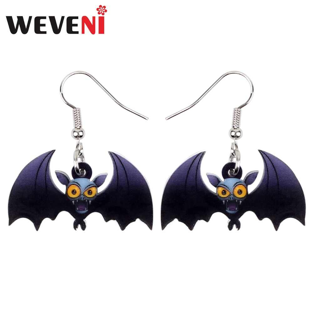WEVENI Accessories Acrylic Halloween Anime Bat Earrings Drop Dangle Novelty Animal Jewelry For Women Girls Bijoux Party Dropship