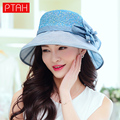 PTAH 2017 Newest Wide Brim Floppy Beach Hats For Women High Quality Foldable Summer Visor Caps Floral Bow Sunscreen Sunhat PT744