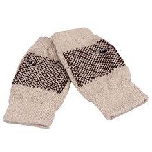 Men Women Fashion Winter Warmer Knitted Mittens Star Print Fingerless Arm Glove beige