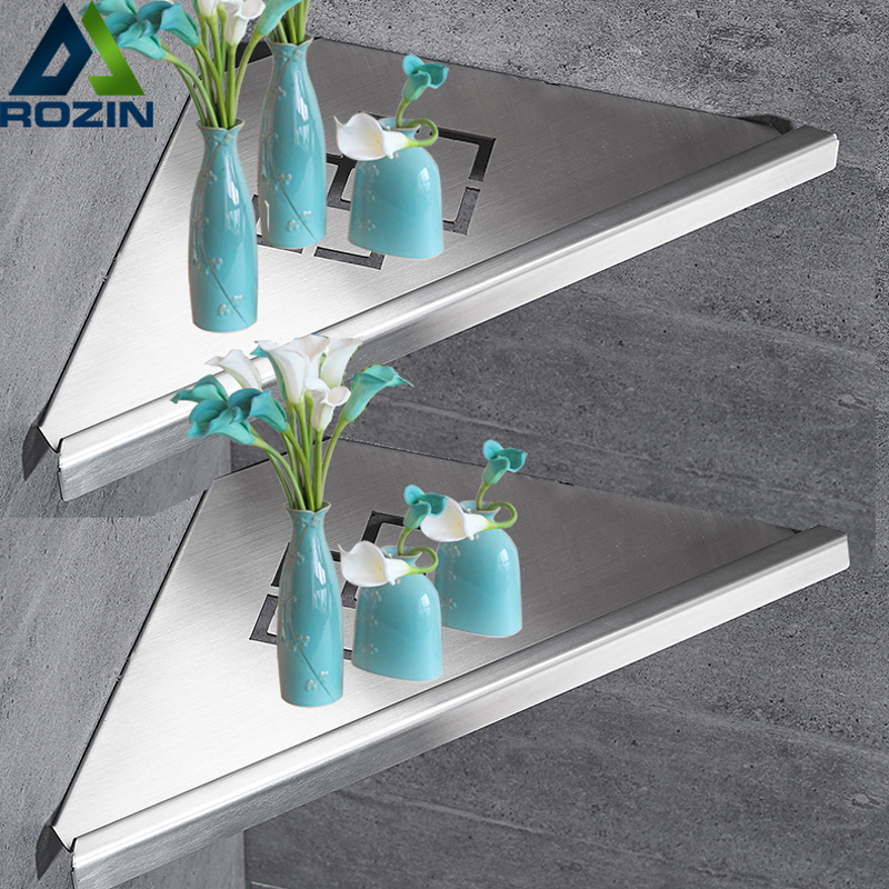 Bathroom Kitchen Storage Shelf Wall Mounted Stainless Steel Shower Caddy Rack Brushed Nickel Black Commodity Holder 2016 top fashion real shelves for bathroom toothbrush holder stainless steel bathroom shelf wall mounted storage rack 50cm kf175