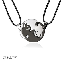Titanium Steel Black White Cat Couple Necklace Lover Pendant Fashion Jewelry