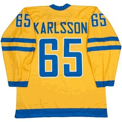 Black Friday Team Sweden 30 Henrik Lundqvist 65 Erik Karlsson Gold Hockey Jersey Stitched Men Ice Hockey Jersey Free Shipping