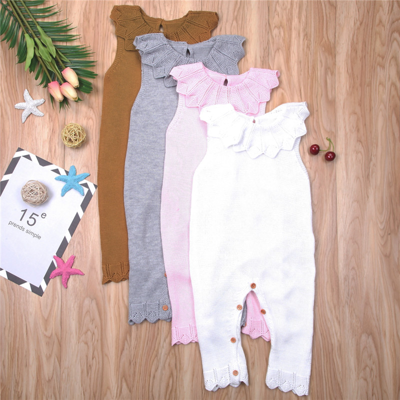 2018 New Baby Girl Knitted Romper Summer Fashion Newborn Infant Sleeveless Jumpsuit Knit Babygrows Clothes Baby Clothing Outfits 3pcs set newborn infant baby boy girl clothes 2017 summer short sleeve leopard floral romper bodysuit headband shoes outfits