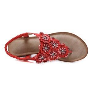 Image 3 - BEYARNE sandalias de cuña para mujer, chanclas bohemias Oxford con flor de cristal a la moda, sandalias de playa suaves étnicas 35 42E614