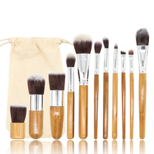 11PCS Bamboo Makeup Brushes Kabuki Makeup Brush Set Cosmetic Foundation Blending Blush Face Powder Brush Makeup Brush Kit Pouch