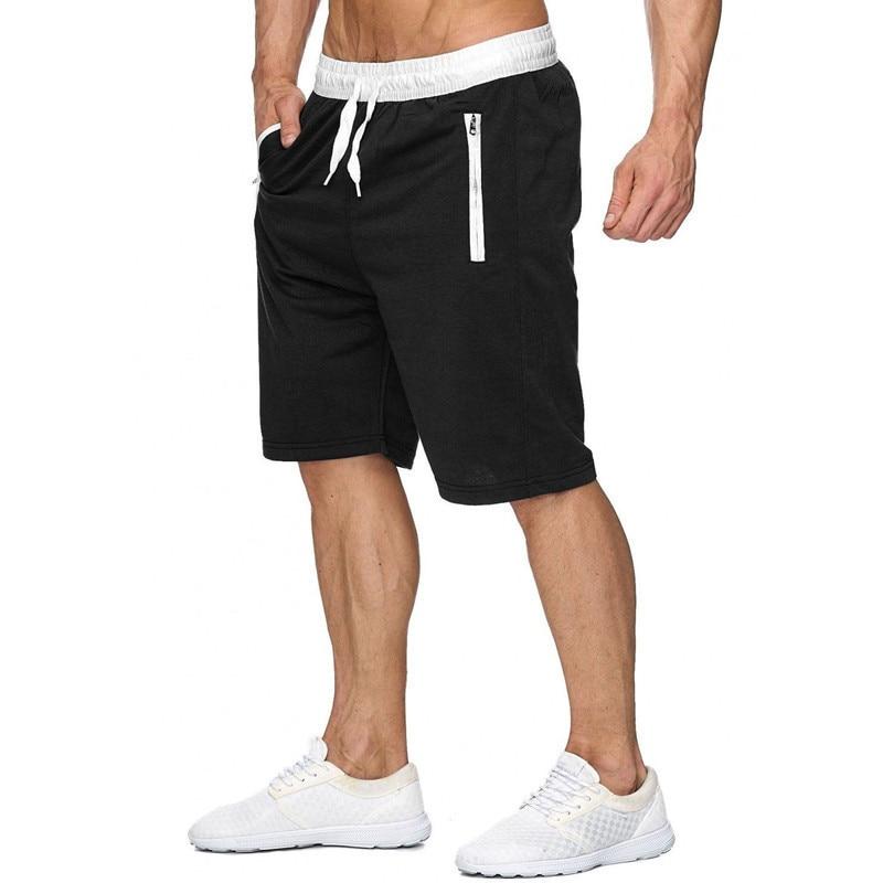 Drawstring Cargo Shorts Men Summer Cotton Fitness Bodybuilding Shorts Male Sport Jogger Trousers Sweat Sweatpants Bermuda Black