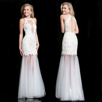 2016 New Arrivals Custom Made Evening Dresses Handmade Appliques White Lace Chiffon Elegant Mermaid Floor Length Prom Gowns