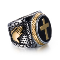 DANZE Knight Templar Crusaders Logo Mens Signet Rings Cross Titanium Steel Medieval Anel Masculino Jewelry For Gifts Size 7#-13# 3