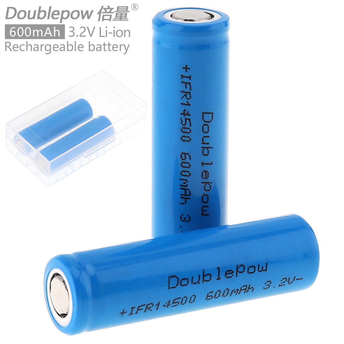 Doublepow 2pcs 14500 600mAh 3.2V Li-ion Rechargeable Battery with Safety Relief Valve + Portable Battery Storage Box