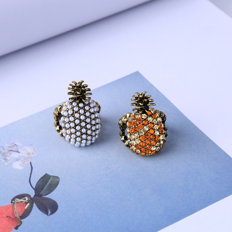jz00130c 2018 New Antique Gold Color Pineapple Fruit Cute Ring For Women Holiday Gift Wholesale Jewelry