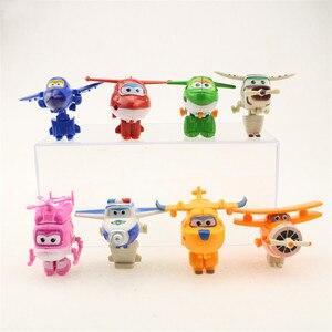 Image 2 - 8 adet/takım MINI Anime süper kanatları modeli Mini uçaklar oyuncak dönüşüm uçak Robot aksiyon figürleri superwings oyuncaklar çocuklar için