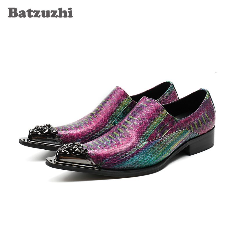 Batzuzhi italien luxe hommes chaussures bout pointu en fer formel hommes chaussures habillées motif Python coloré en cuir fête chaussures de mariage
