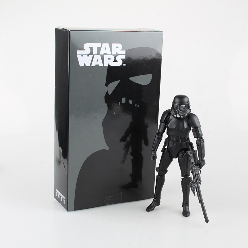 Star War Black Stormtrooper PVC Action Figures Collectible Model Toys 15.5cm KT1977 star wars taiko yaku stormtrooper 1 8 scale painted variant stormtrooper pvc action figure collectible model toy 17cm kt3256
