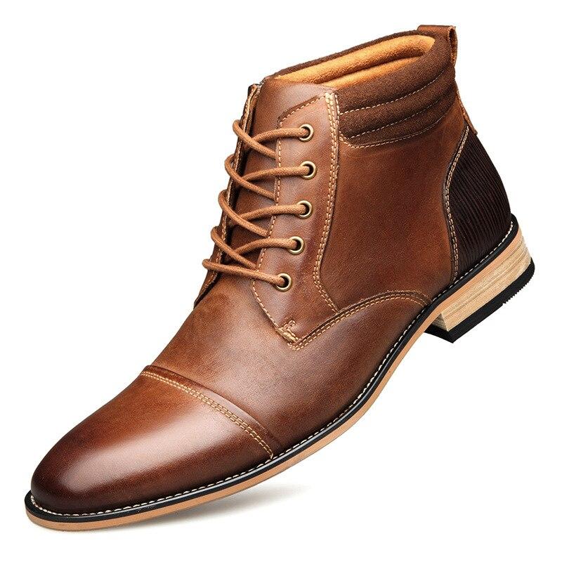 d58d132fd25 2019 nuevos hombres botas de cuero genuino talla grande 40-47 invierno ocio  zapatos de hombre con cordones tobillo botas hombre Chelsea botas