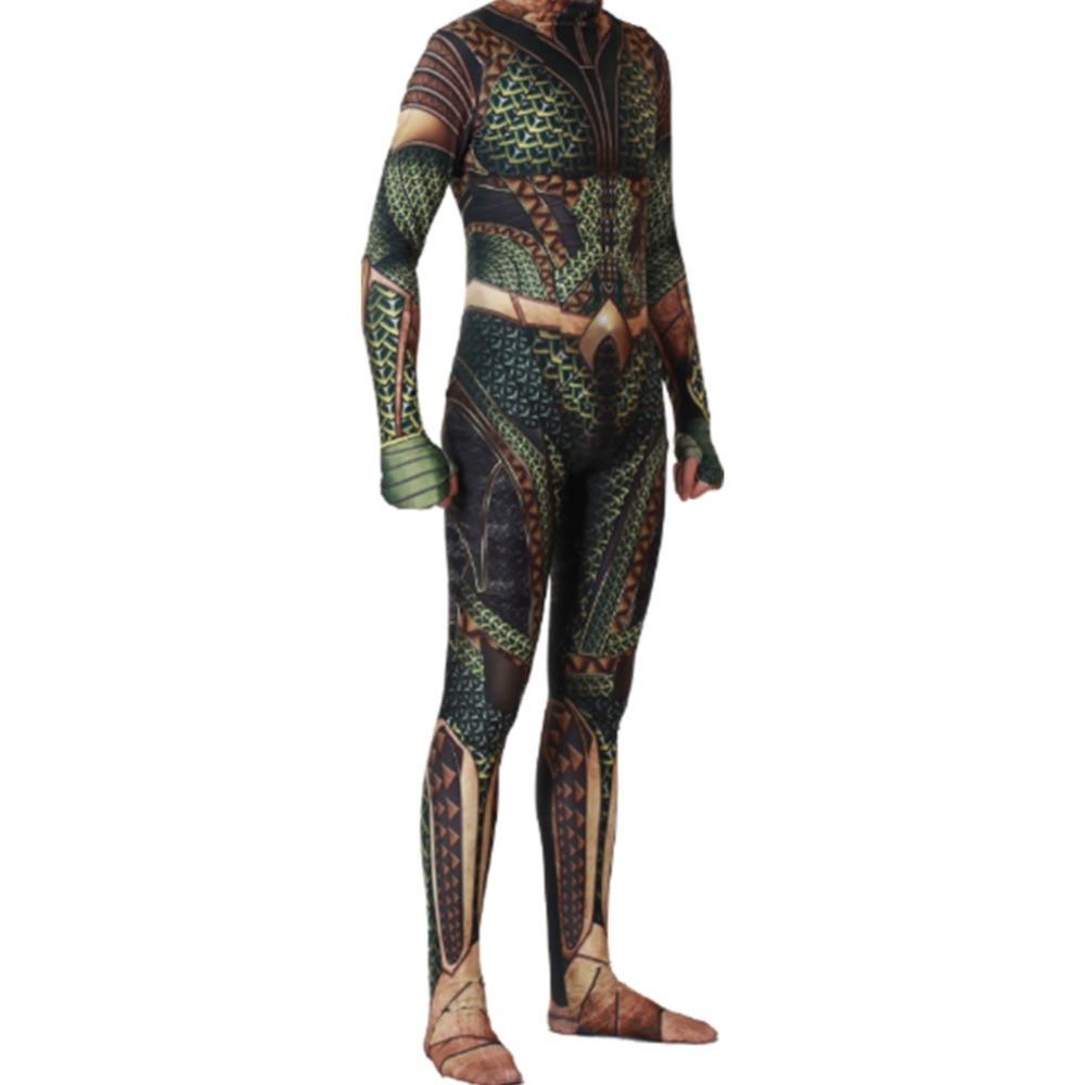 Aquaman Cosplay Costumes Arthur Curry Orin Superhero Jumpsuit Halloween Green Suits Clothing