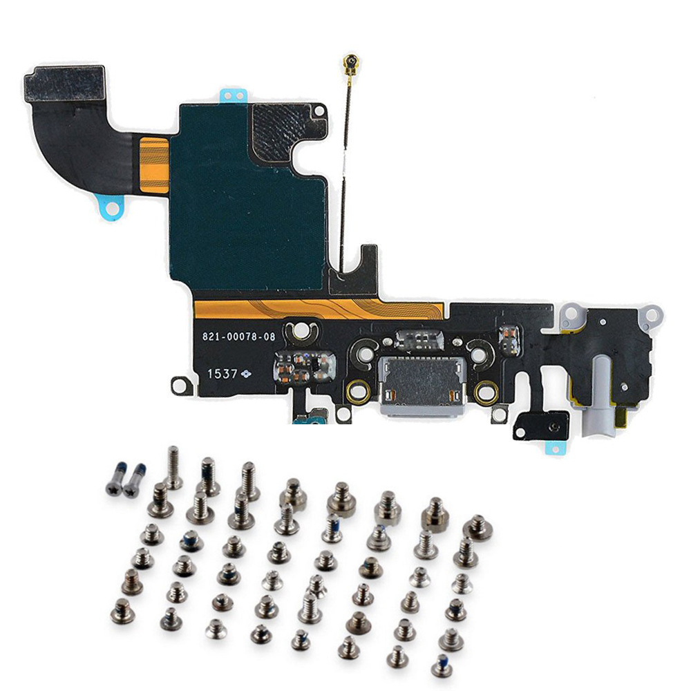 2pcs/lot for <font><b>iPhone</b></font> <font><b>6s</b></font> USB Charging Port Dock <font><b>Connector</b></font> Flex Cable with Microphone and Headphone Audio Jack + full set screws image