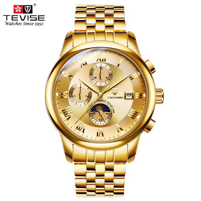 TEVISE Mechanical Watch Men Moonphase Automatic Selfwinding Watches Complete Calendar Stainless Steel Luminous Wristwatches 9008 tevise men top luxury brand stainless steel band black fashion mechanical sports wristwatches creative gift calendar dress watch