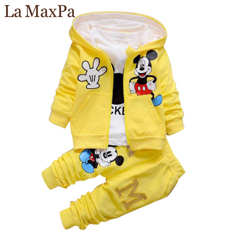 2018 New Children Girls Boys Fashion Clothing Sets Autumn Winter 3 Piece Suit Hooded Coat Clothes Baby Cotton Brand Tracksuits