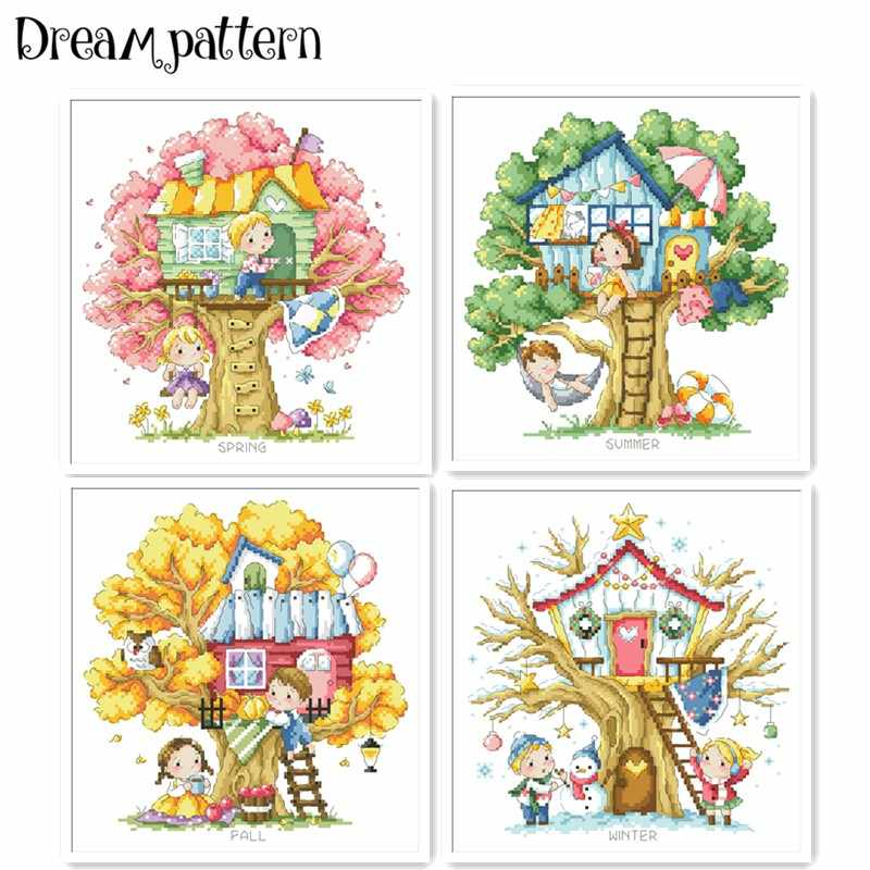 Treehouse of 4 season cross stitch package spring summer 18ct 14ct 11ct cloth cotton thread embroidery DIY handmade needlework