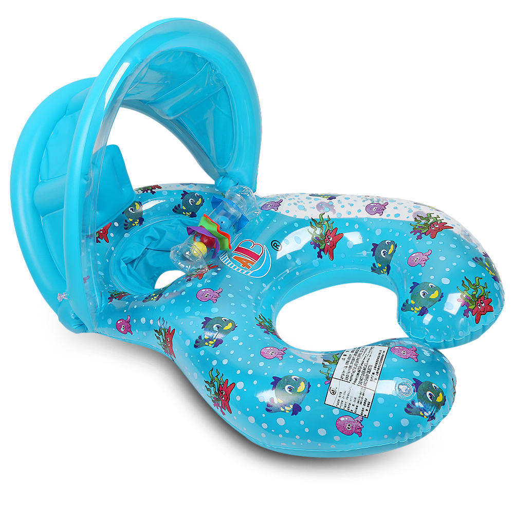 Baby Summer Swimming Ring Water Pool Float Boat Baby&Mom Summer Water Fun Pool Toy Kids Swimming Ring With Sun Awning Protect