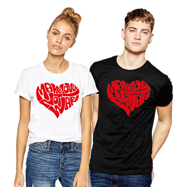 118c6f574 COUPLE T Shirt Plus Size T-shirt Graphic Tees Instagram Tops Make Love Not  War Funny Graphic Black White Tshirt Xs-3xl 2018