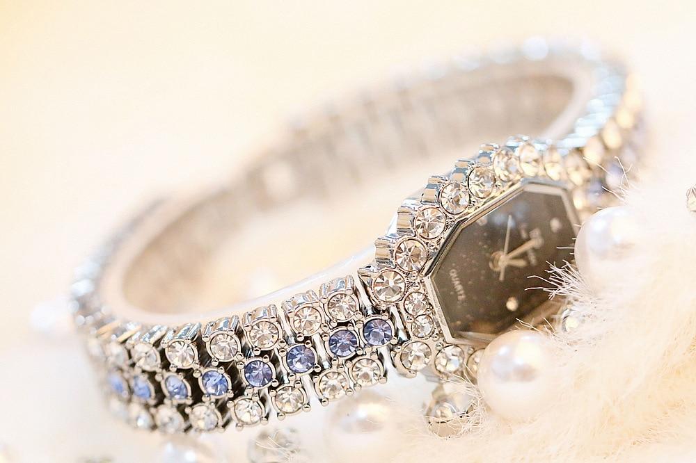 New Arrival Luxury Diamond Barrel Type Dial Girl Watch Women Quartz Watches Female Bracelet Watch Zegarek Damski Dress Watches in Women 39 s Watches from Watches