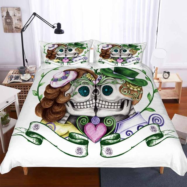 FLOWER SKULL 3D BEDDING SETS (6 VARIAN)