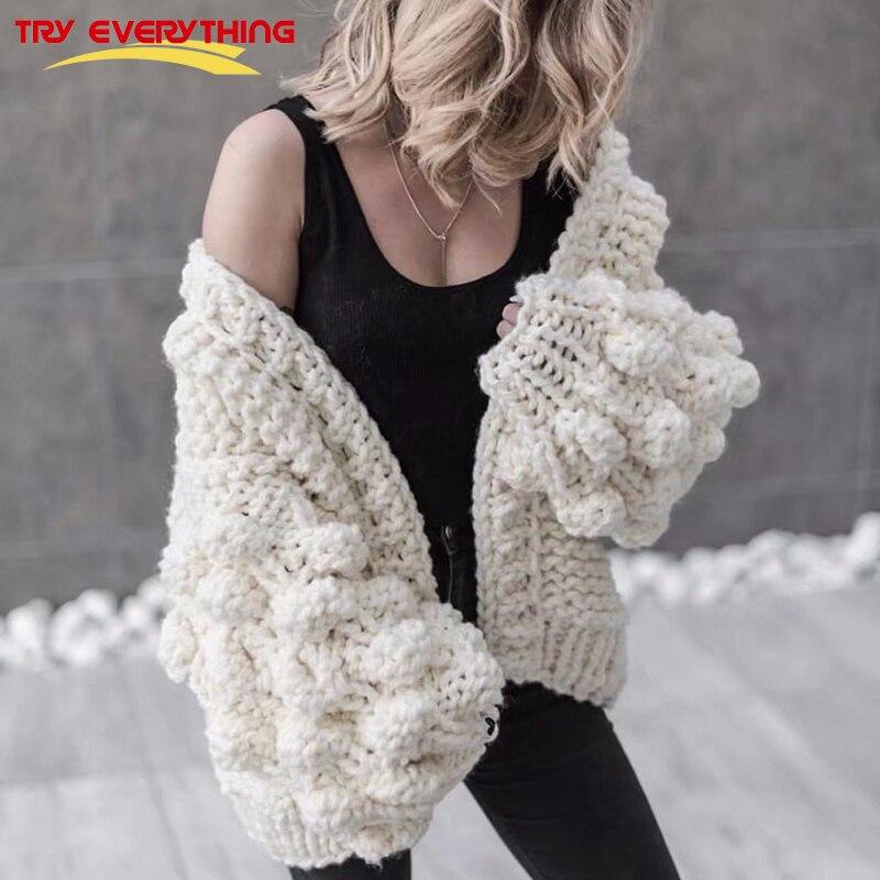 Cárdigan tejido a mano para mujer 2018 moda abrigo de invierno de manga larga cárdigan suéter mujer invierno Tops ropa Beige
