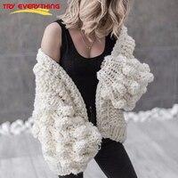 Spróbuj Wszystko Ręcznie Dzianiny Cardigan Kobiety 2018 Moda Zima Żakiet Z Długim Rękawem Sweterek Sweter Kobiety Zima Topy Ubrania Beżowy