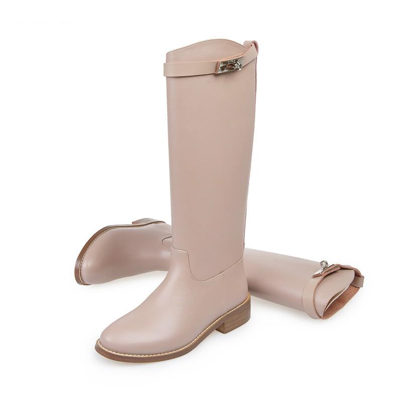 Véritable Femmes En D'hiver Bottes as Haute Les Mujer As Cuir Genou Zapatos Vin Pic Glissement Sur Pic Noir Nude Brun Appartements 5Iwqwt