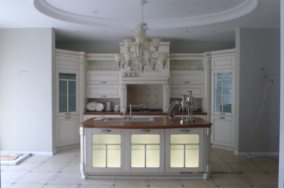 Classique blanc armoires de cuisine en verre portes (LH-SW064)