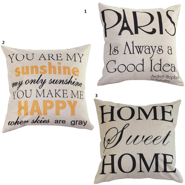 Hot! 3 Types English Words Pattern Pillowcase Soft Pillow Cases Office Home Pillow Slip Lving Room Pillow Cover