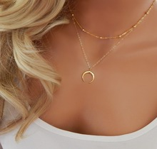 Acroo Vintage Crescent Moon Gold Color Beads Chain Necklaces For Women Ethnic Ox Horn Two Layers Charm Necklaces Party Jewelry